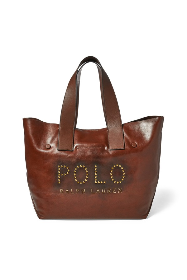 Polo Ralph Lauren. Studded Leather Polo Tote Bag