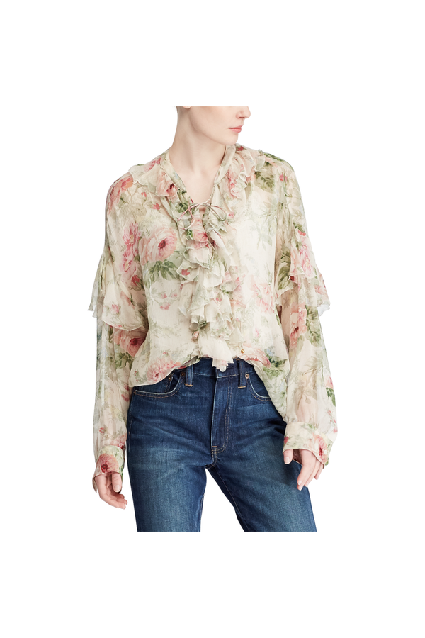 8b52e6f6 Floral Lace-Up Silk Blouse by Polo Ralph Lauren at ORCHARD MILE