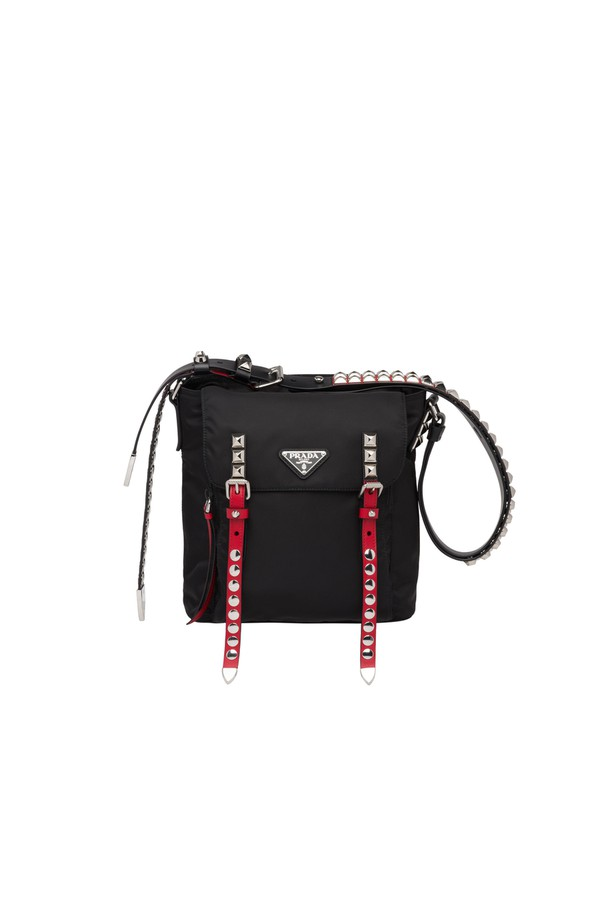 e701d5e8fd9b Black Nylon Bucket Bag With Leather And Studs by Prada at ORCHARD MILE