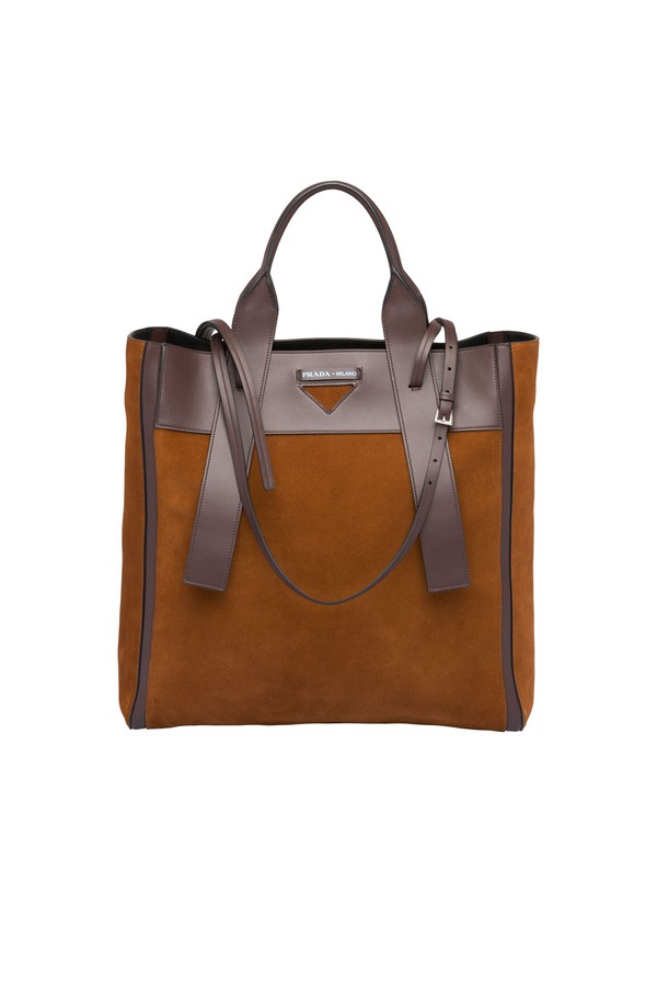 5d580e7040aa Prada Ouverture Suede Tote by Prada at ORCHARD MILE