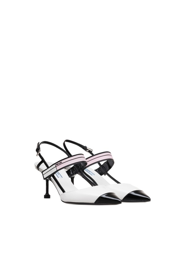 97955d262 Two-Tone Leather Slingbacks by Prada at ORCHARD MILE