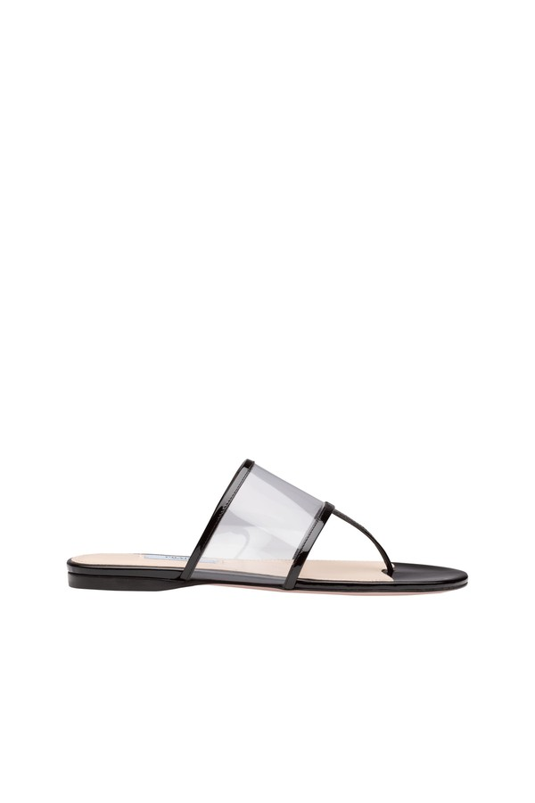 80fa02f52 Plexiglas And Patent Leather Thong Sandals by Prada at ORCHARD MILE