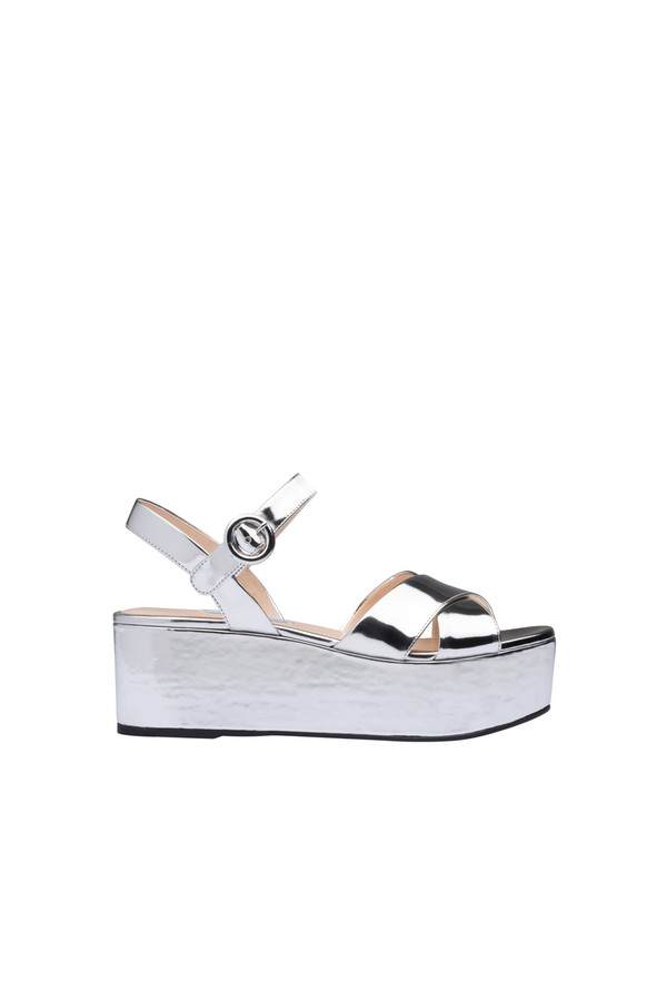 a56974de855 Metallic Leather Platform Sandals by Prada at ORCHARD MILE
