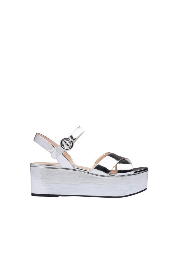 288ed1e3395 Metallic Leather Platform Sandals by Prada at ORCHARD MILE