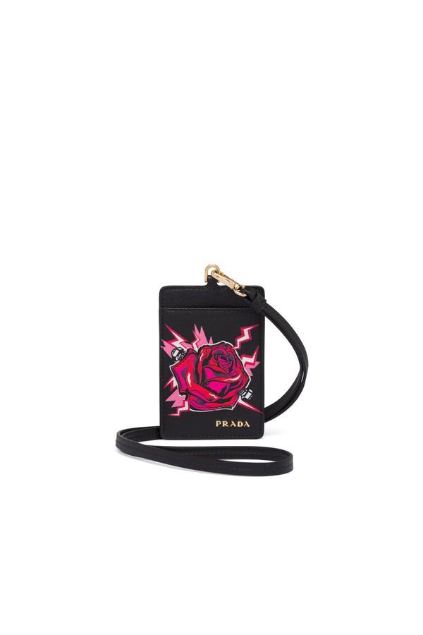 ac006303a9 Printed Saffiano Leather Badge Holder