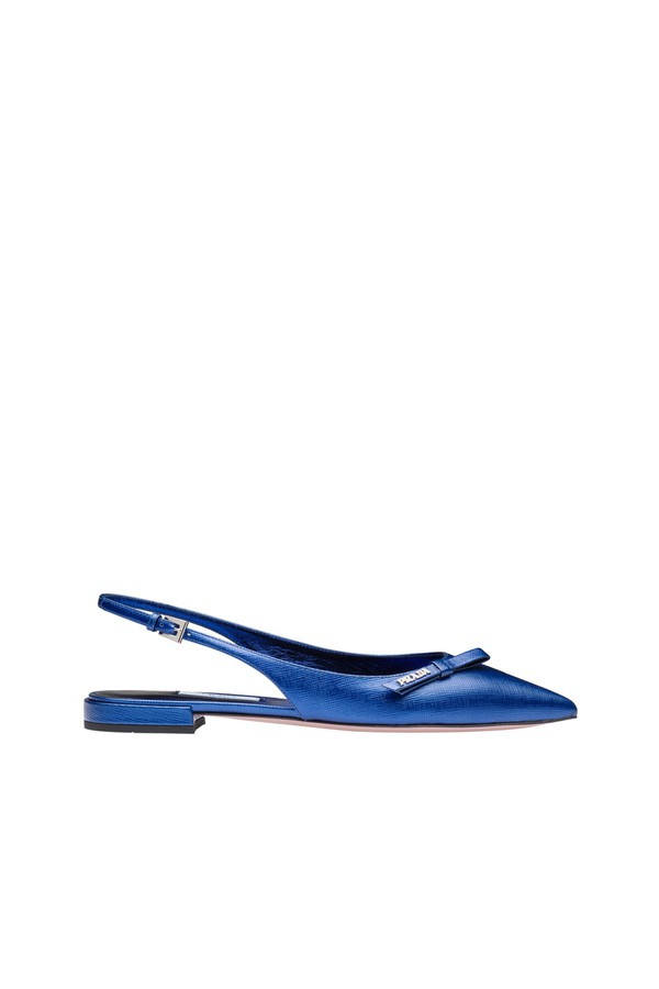 0be9663791 Metallic Leather Slingback Ballerinas by Prada