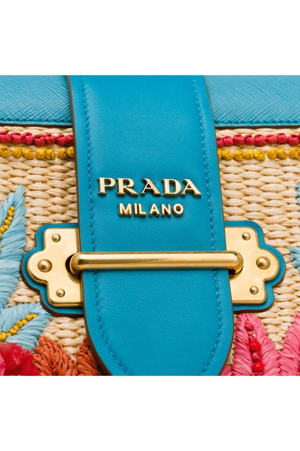 5be93982cc7f Prada Cahier Straw And Leather Bag by Prada at ORCHARD MILE