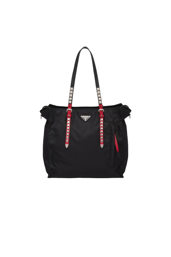 3ae5d16c59492a Black Nylon Tote With Leather And Studs by Prada at ORCHARD MILE