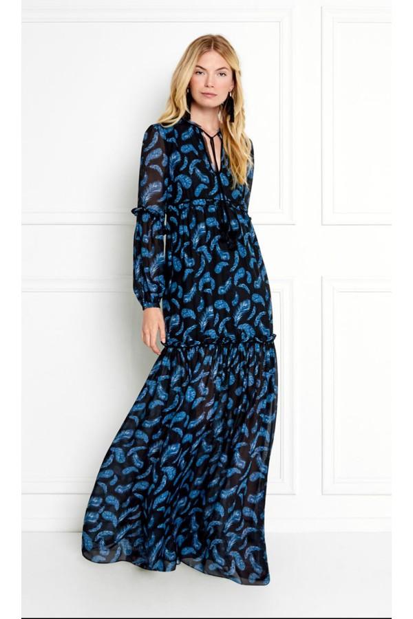 cf82ea2476 Victoria Feather Printed Chiffon Maxi Dress by Rachel Zoe at...