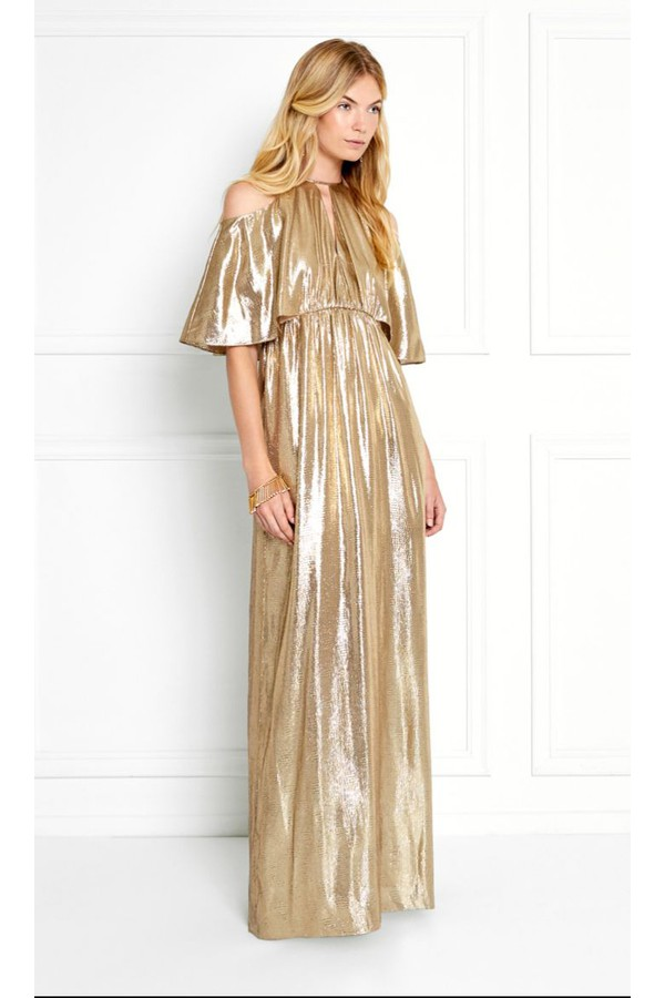 Marlene Cold-Shoulder Gold Metallic Jacquard Gown by Rachel Zoe at...