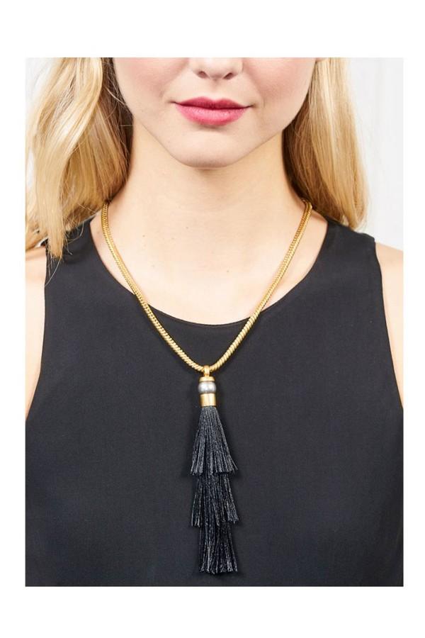 Rachel Zoe Gracie Silk Tassel Necklace Gold/black K4o1u