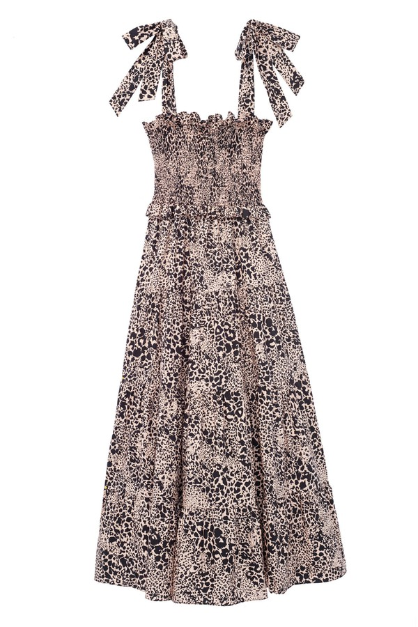 bc4f1c89061f Hidden Leopard Poplin Smocked Dress by Rebecca Taylor at ORCHARD MILE