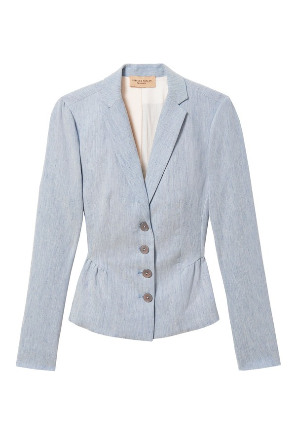 feeb829aa23af Tailored Stretch Linen Blend Jacket by Rebecca Taylor at ORCHARD MILE