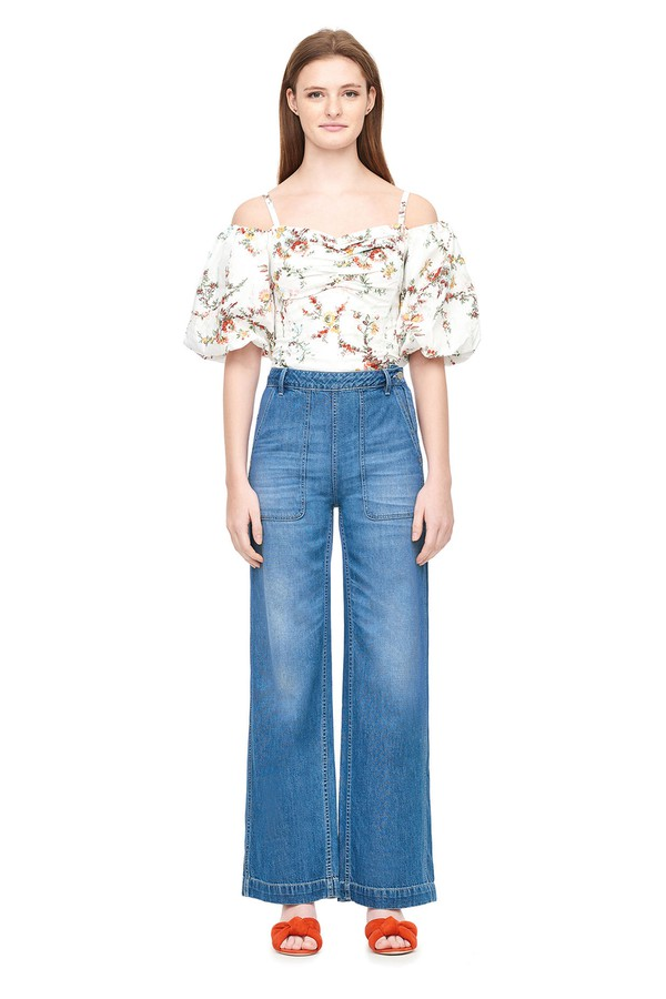2031b5c11b5 La Vie Drapey Denim Pant by Rebecca Taylor at ORCHARD MILE