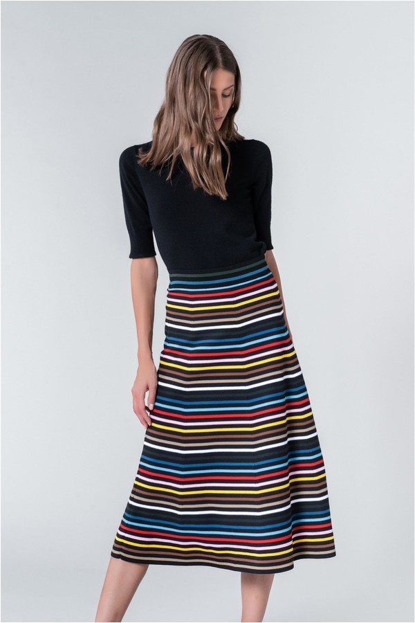 58ece9f052 Striped Knitted Midi Skirt by Sonia Rykiel at ORCHARD MILE