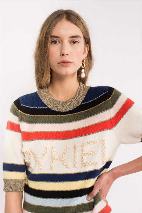 18dca5c00b7de0 Striped Embroidered Cashmere Sweater by Sonia Rykiel at ORCHARD MILE