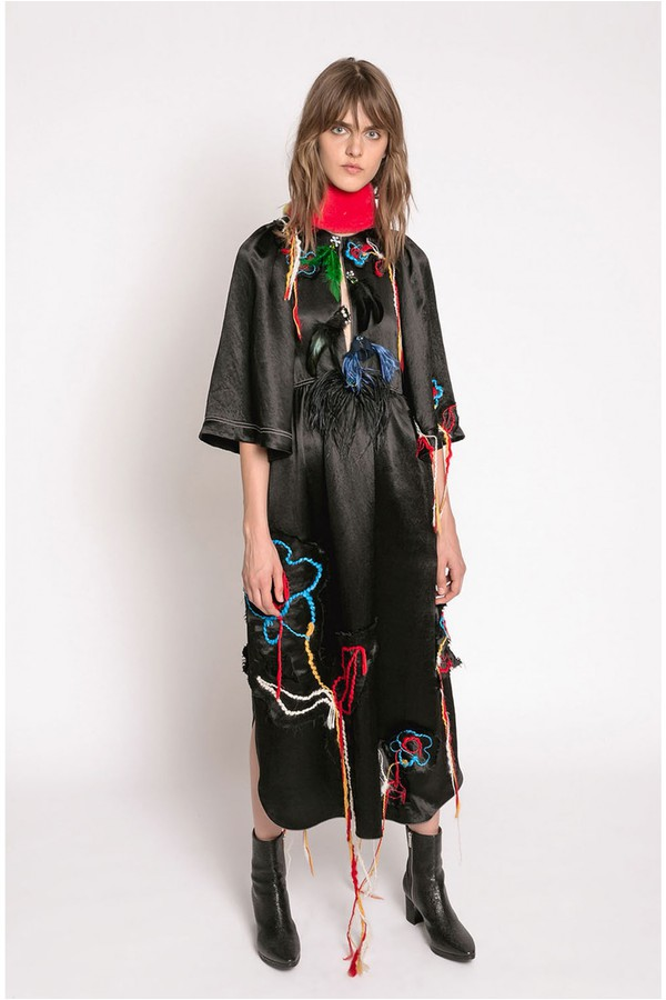 30bf3720691 Long Embroidered Crinkle Satin Dress by Sonia Rykiel at ORCHARD MILE