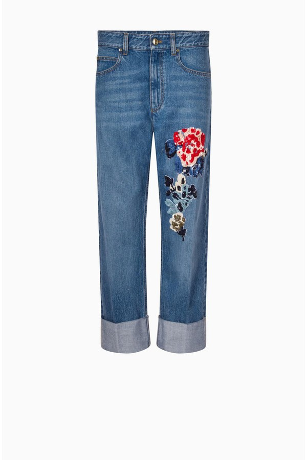 759bfcbe29 Boyfriend Pants With A Flower Patch by Sonia Rykiel at ORCHARD MILE