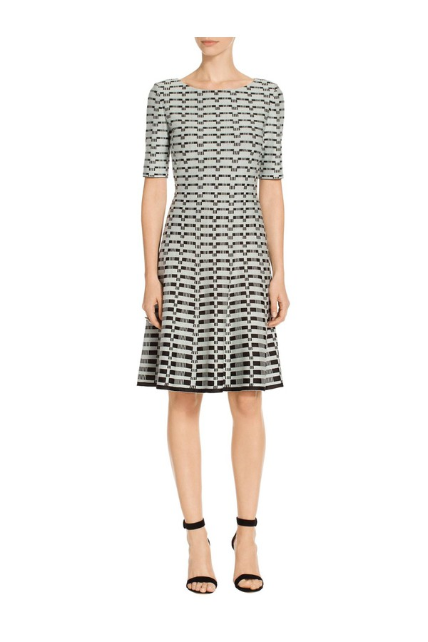 231b5fd73f Textural Grid Knit Fit   Flare Dress by St. John at ORCHARD MILE
