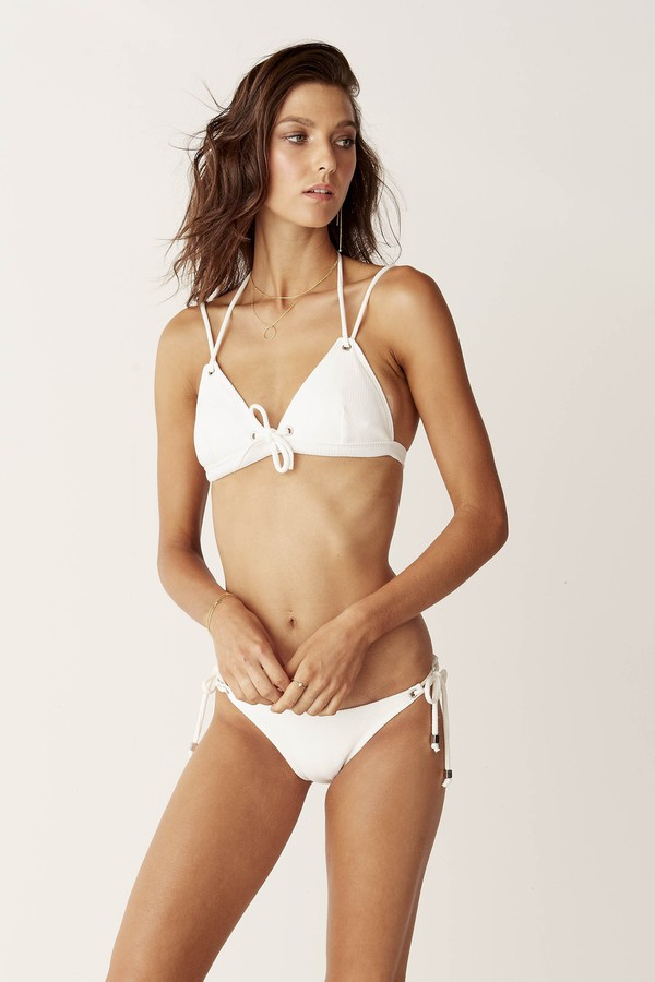 Suboo Eyelet Triangle Bikini Top White Textured