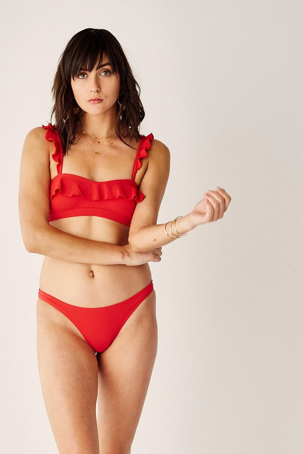 f9eceb0cd8d73 Frill Bandeau Bikini Top - The Chase - Red by Suboo at ORCHARD MILE