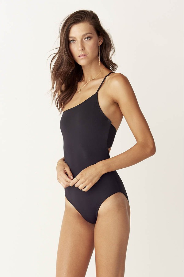 Suboo Asymmetric One Piece Swimsuit Matte Black