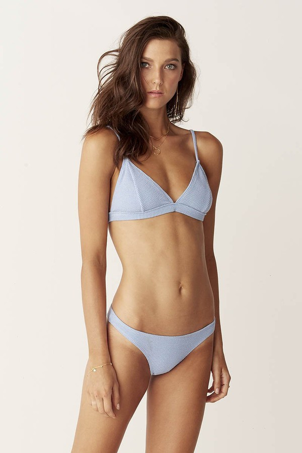 Suboo Fixed Tri Bikini Top Blue Textured