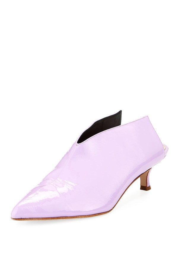 New Tibi Shoes Heels Jase crinkled patent-leather mules Lilac Kitten 38.5
