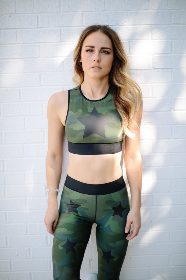 7201151ac9a9d Ultra Silk Camo Knockout Crop Top In Army Green Matte by ultracor...