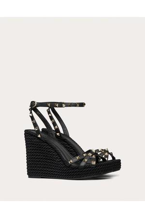 6cb8ac732fbda Valentino Garavani Rockstud Calfskin Ankle Strap Wedge Sandal 95 Mm