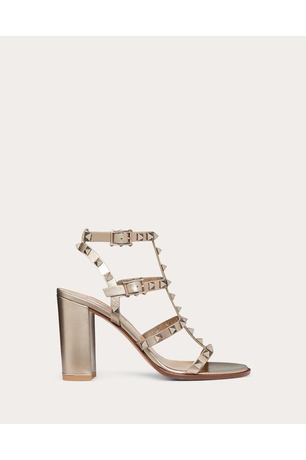 Strap 90 Mm Rockstud Ankle Sandal Metallic vy76fgYb