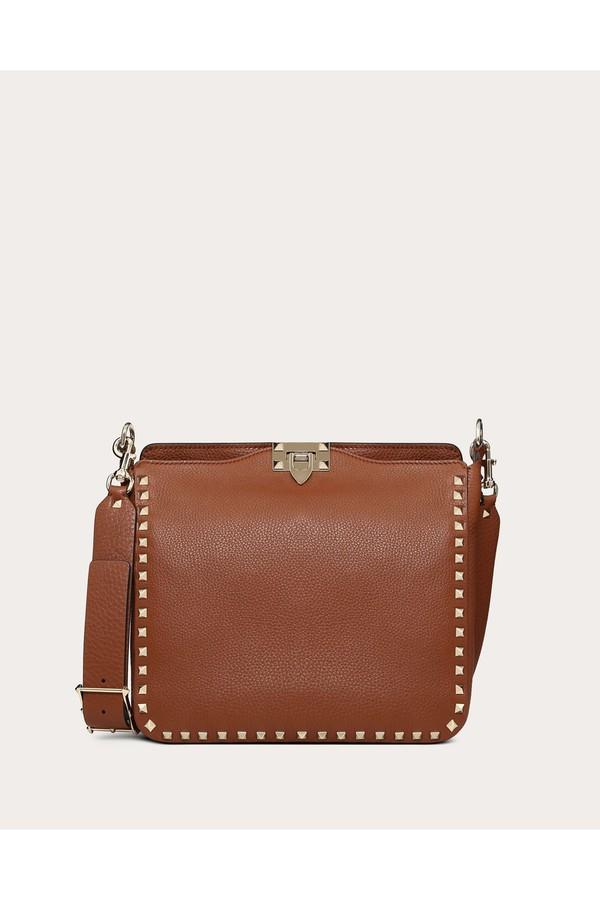 de96c58c70 Small Grain Calfskin Leather Rockstud Hobo Bag by Valentino...
