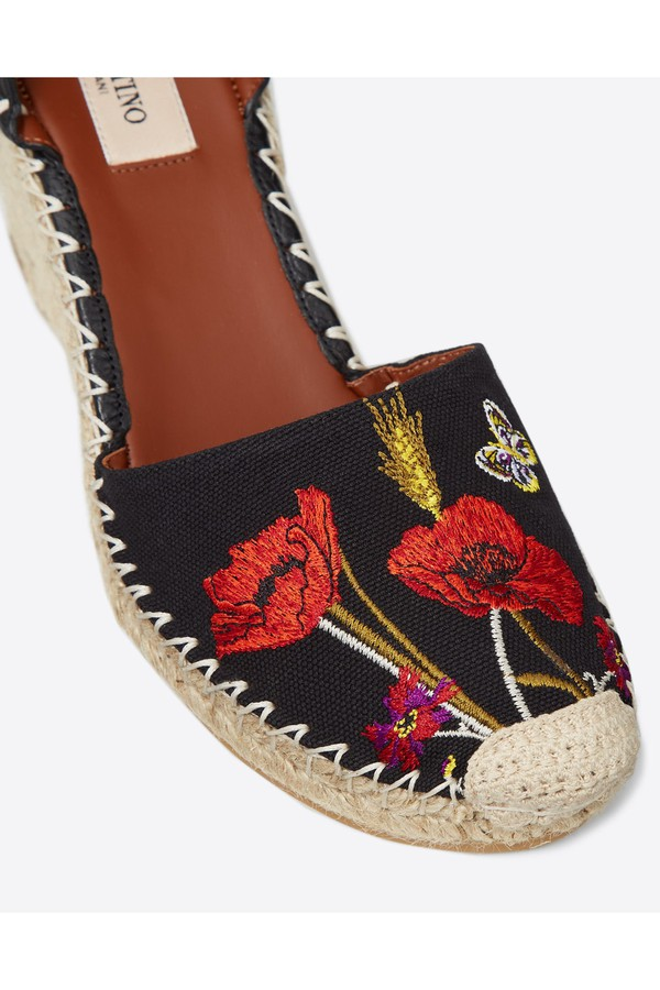 0ad0bae0013 Poppy Embroidery Rockstud Double Wedge Espadrilles 65Mm