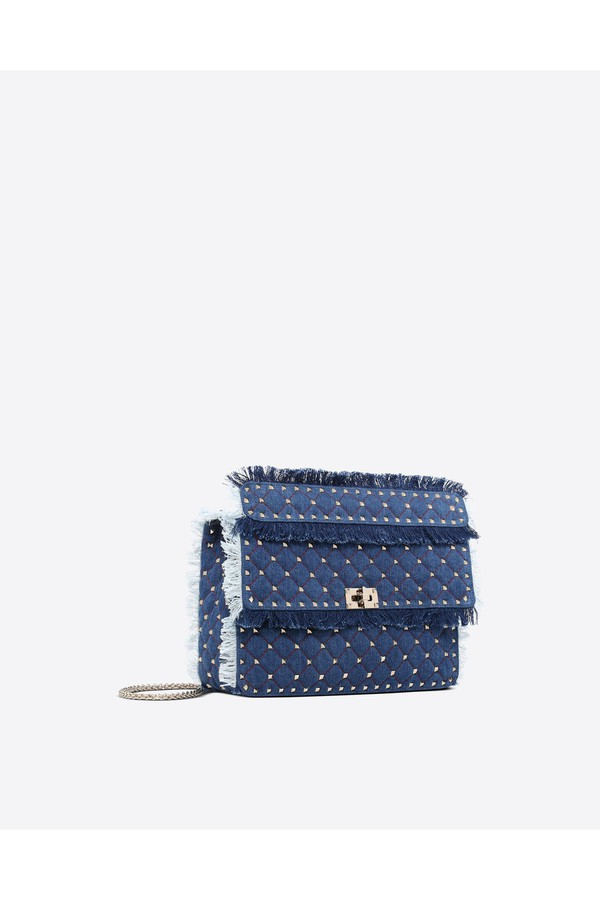 4a77276c850 Large Denim Rockstud Spike Bag by Valentino at ORCHARD MILE