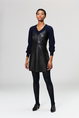Veda Slip Leather Dress Black
