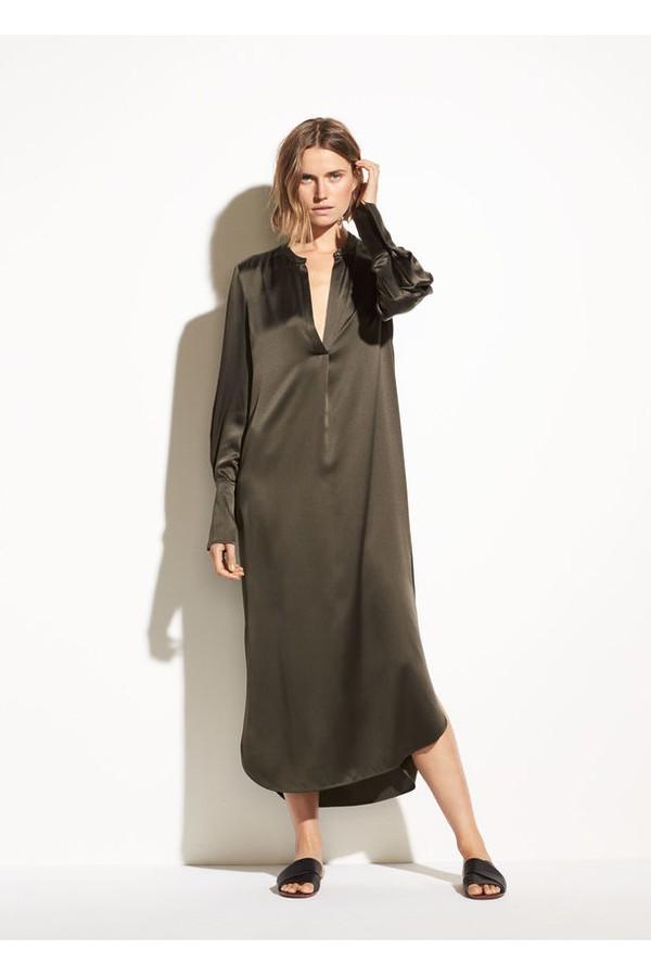 c46910461b03f3 Band Collar Silk Shirt Dress by Vince at ORCHARD MILE