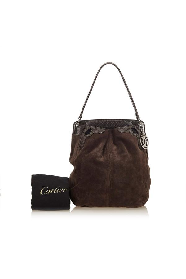 61111f2c9b Python Suede Shoulder Bag by Vintage Cartier at ORCHARD MILE