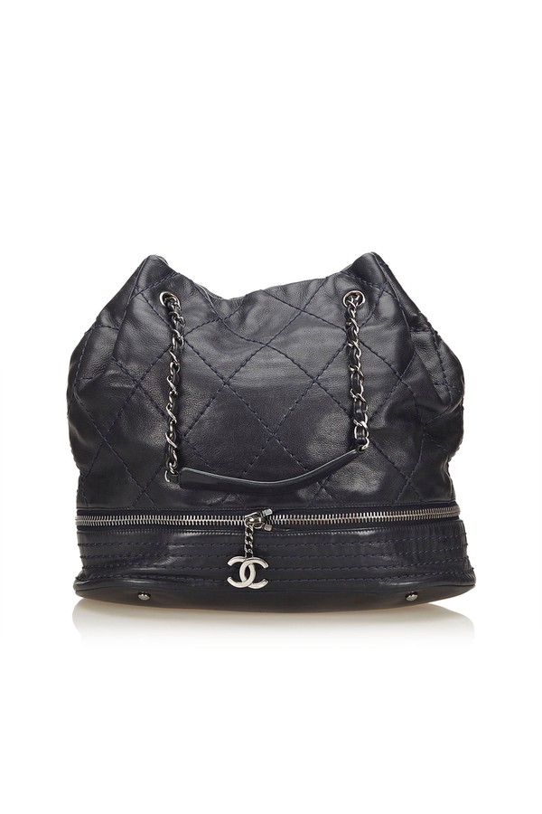 e27d2b3bd45756 Expandable Ligne Drawstring Bag by Vintage Chanel at ORCHARD MILE