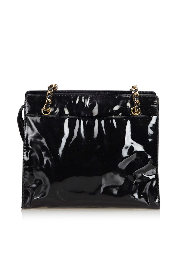 f22509154398f6 Patent Leather Chain Tote Bag by Vintage Chanel at ORCHARD MILE