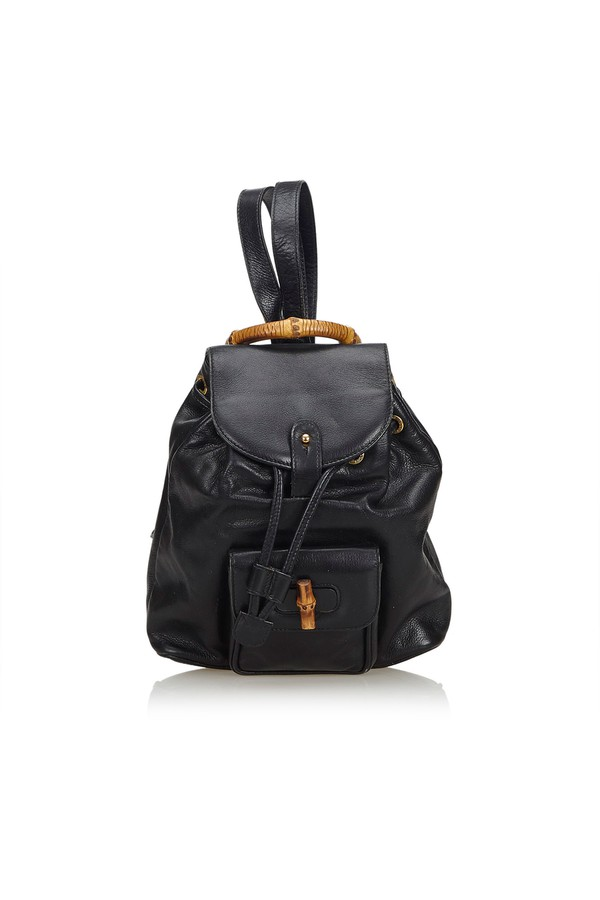 e0c9f9b1f3b Bamboo Leather Drawstring Backpack by Vintage Gucci at ORCHARD MILE