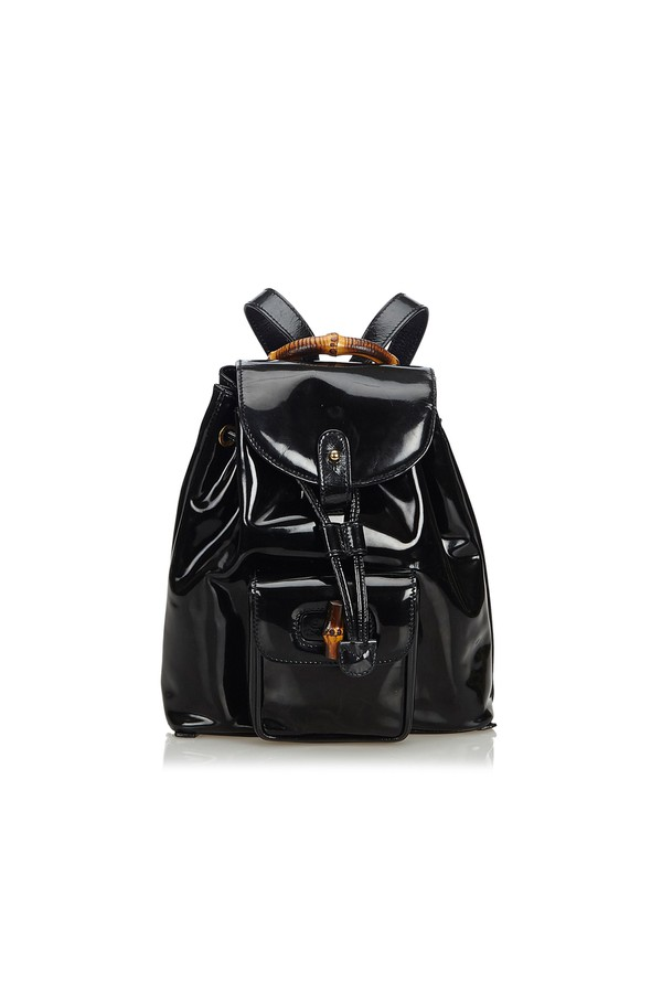 251b28178224 Bamboo Patent Leather Drawstring Backpack by Vintage Gucci at...