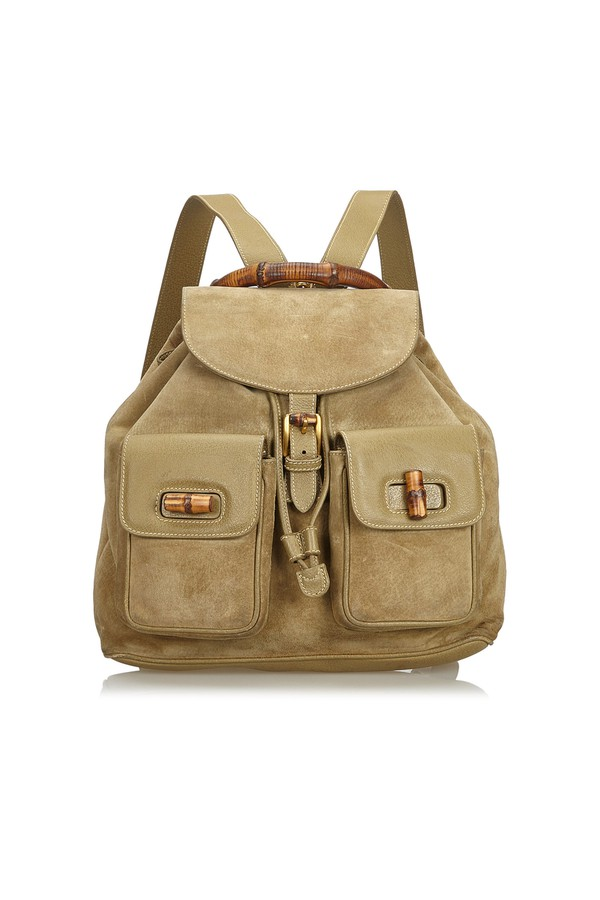 19dc3a5255f1 Suede Bamboo Backpack by Vintage Gucci at ORCHARD MILE