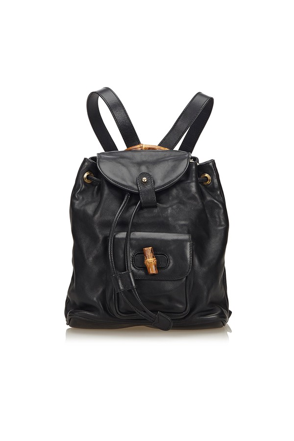 4e78515dd218 Bamboo Leather Drawstring Backpack by Vintage Gucci at ORCHARD MILE
