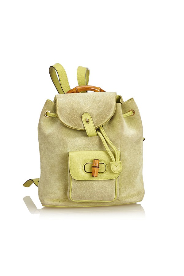 7afceb921e4 Bamboo Suede Drawstring Backpack by Vintage Gucci at ORCHARD MILE