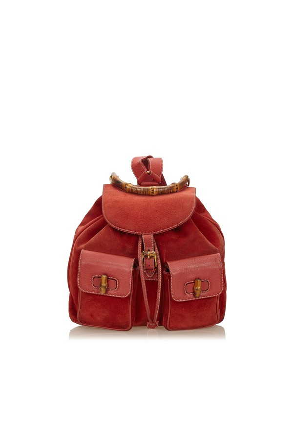 Bamboo Suede Drawstring Backpack by Vintage Gucci at ORCHARD MILE 5d4c68d65ac74