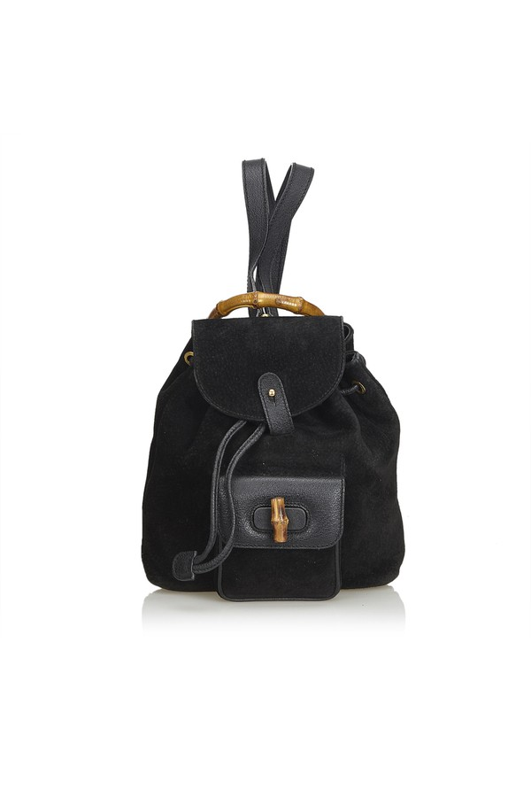 51bc8c7043c6 Mini Bamboo Suede Leather Backpack by Vintage Gucci at ORCHARD MILE