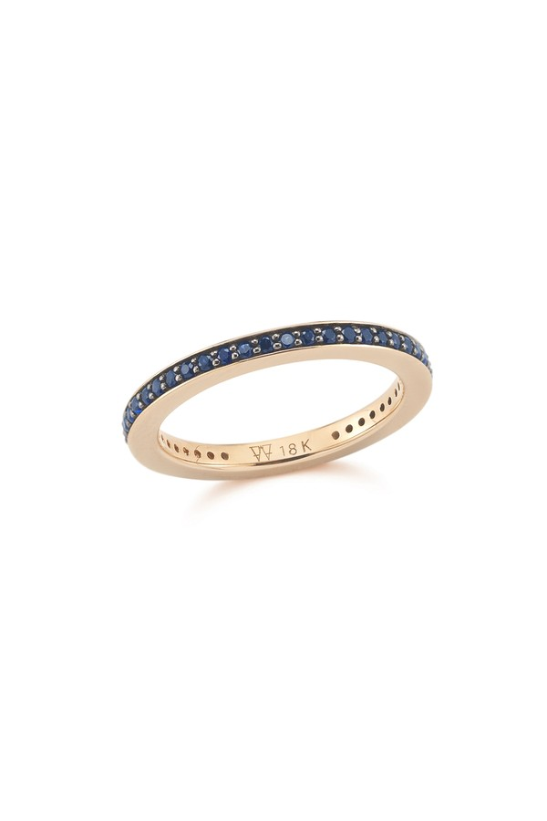 Walters Faith Grant 2Mm Blue Sapphire Cubed Band Ring UGG7dWO