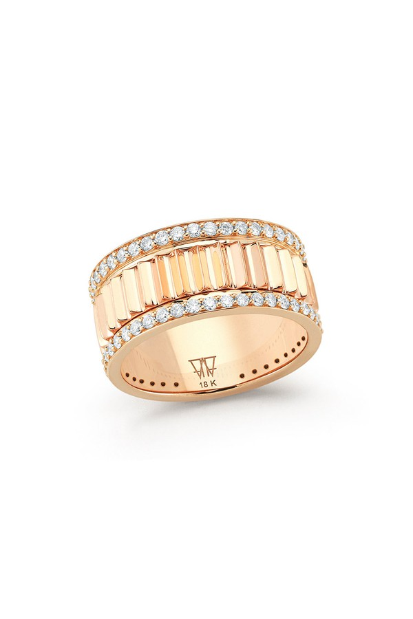 Walters Faith Lytton 18K Rose Gold And All Pave Diamond Wide Ring 8110xeEo