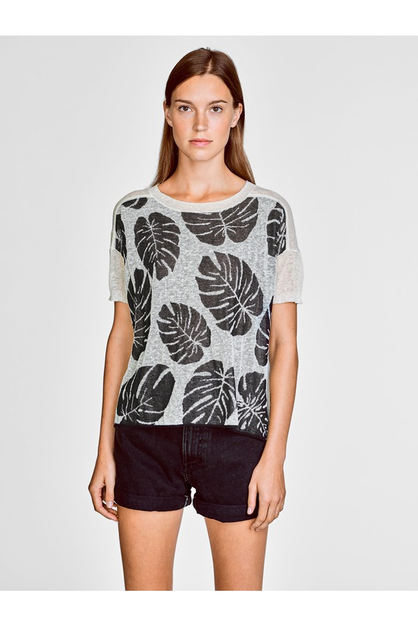 d101352f528a5 Italian Linen Palm Leaf Jacquard Knit Tee by White + Warren at...