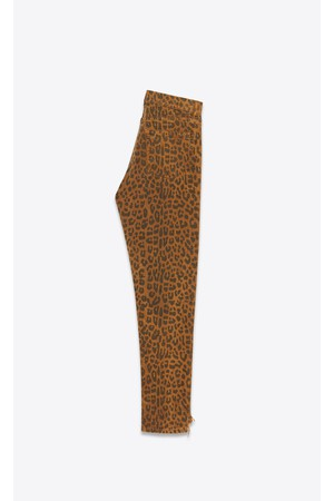 18c59976910 Saint Laurent Slim Jeans In Leopard Print Caramel Denim